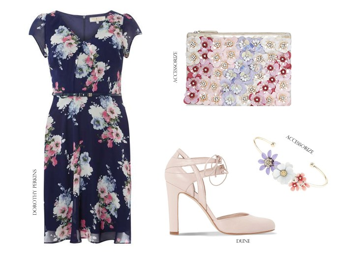High Street Outfit Grid Shopping Wedding Guest Style Dorothy Perkins Accessorize Dune