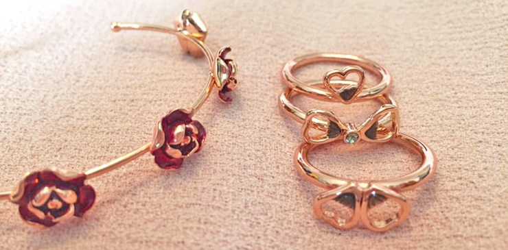 Ted Baker Rose Gold Jewellery Collection Bangle Rings Close Up