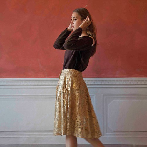 A-MM-E Fashion Design Gold Metallic Lace Skirt Collection Interview Emma