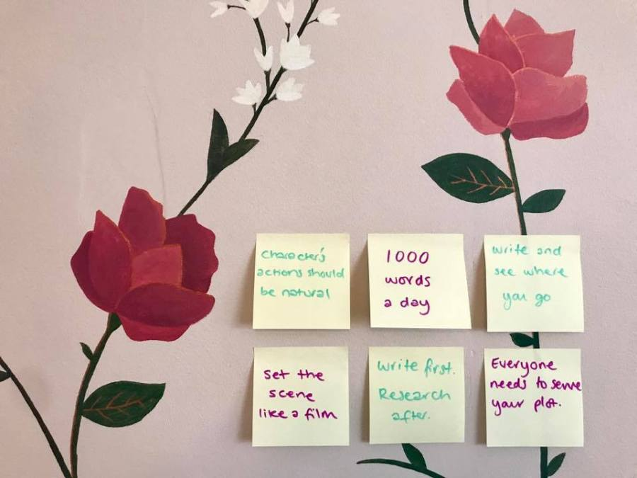 How Write First Novel Tips Post It Notes Janet Ellis Roses Flowers Decor