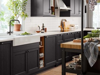 ikea kitchen lerhyttan inspiration traditional kitchens kosher character cabinets dark designer havsen sink wood organize tips website