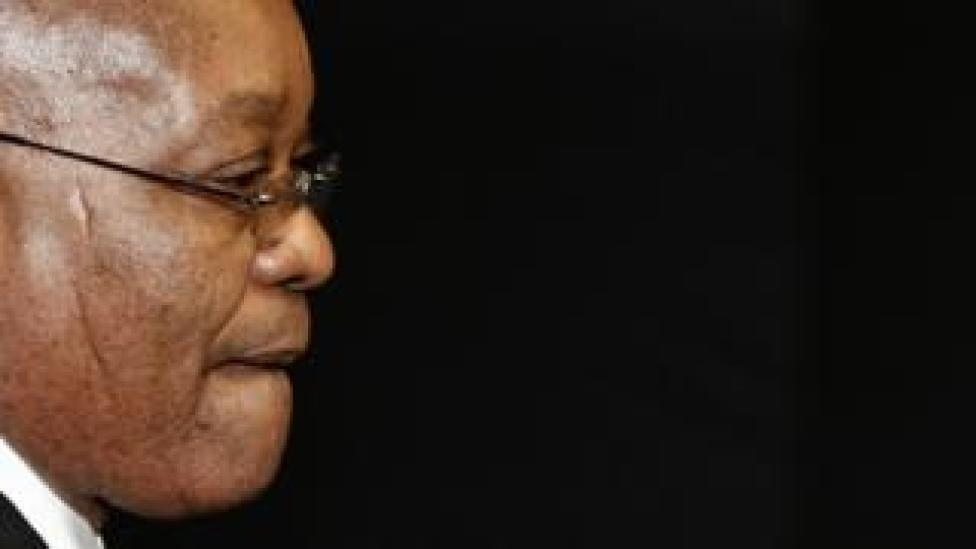 Jacob Zuma arrives for a press conference - March 2010