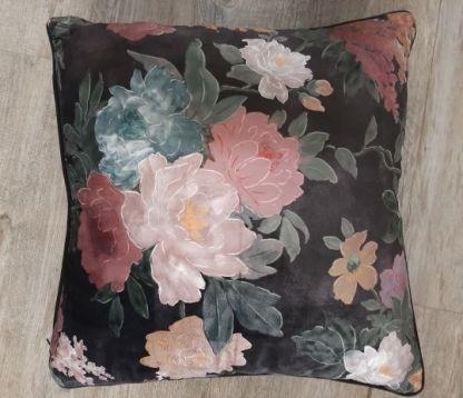 black floral cushion