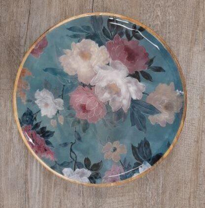 green floral platter