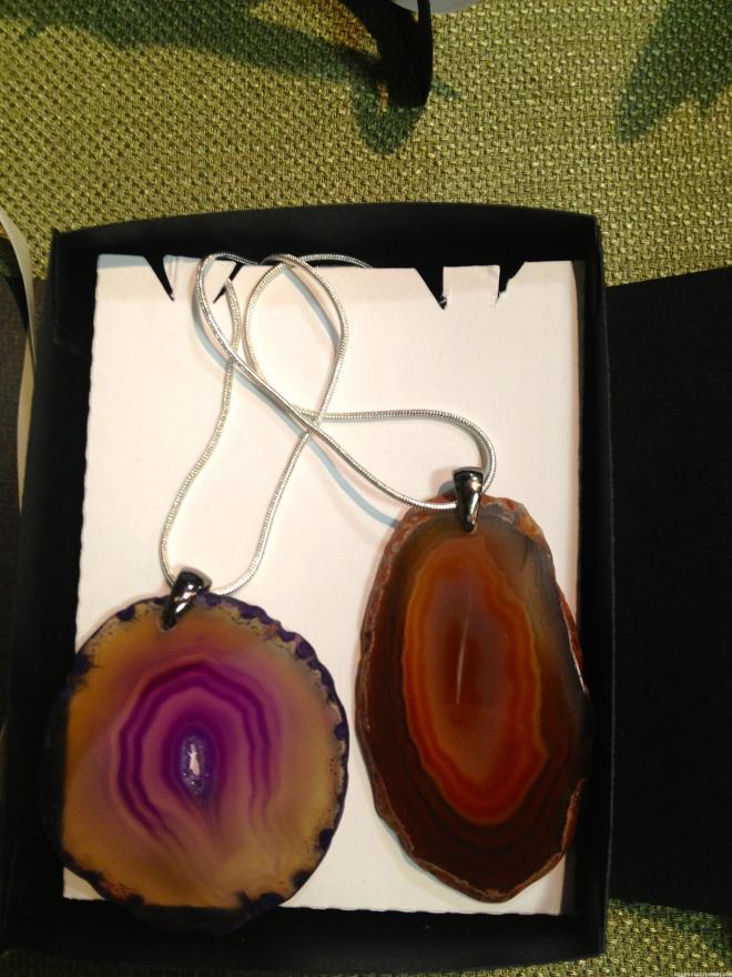 Agate Pendant & Silver Necklaces