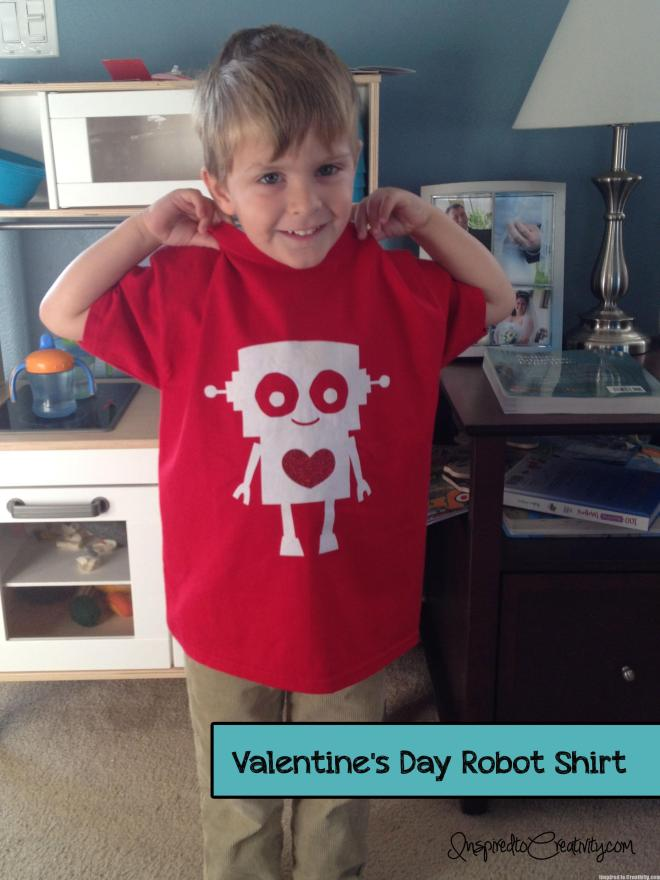 Valentine's Day Boy's Robot Heart Shirt