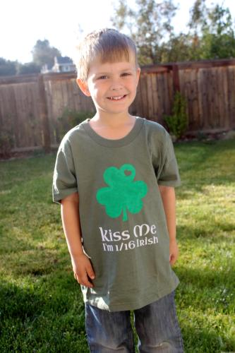 Kiss Me Irish Shamrock Boys Shirt DIY