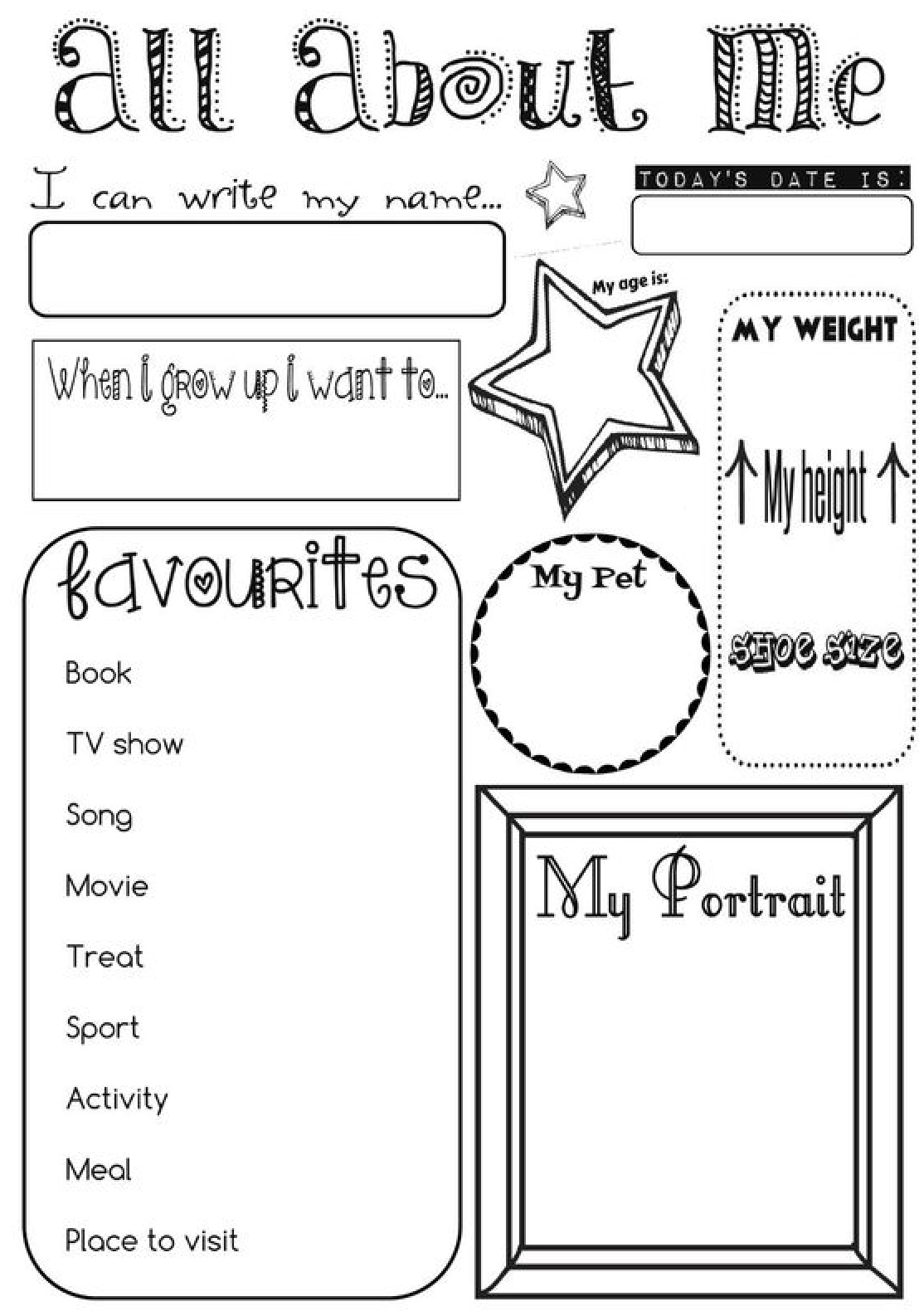 All About Me Activity For Grades 3rd 5th Inspire Girls