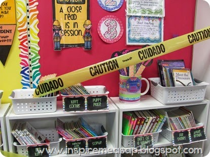 caution tape on classroom library
