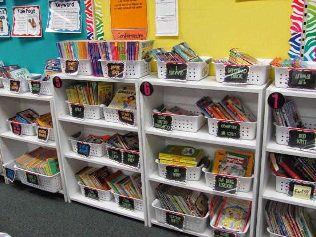 classroom library with books leveled my genres