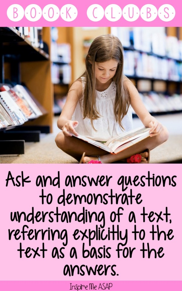 Students use book clubs as a way to ask and answer questions to demonstrate understanding of a text, which address CCSS for ELA. This blog post gives tips for how establish student-led conversations in their book clubs.