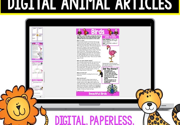 Digital Non-Fiction Animal Articles and Comprehension Checks