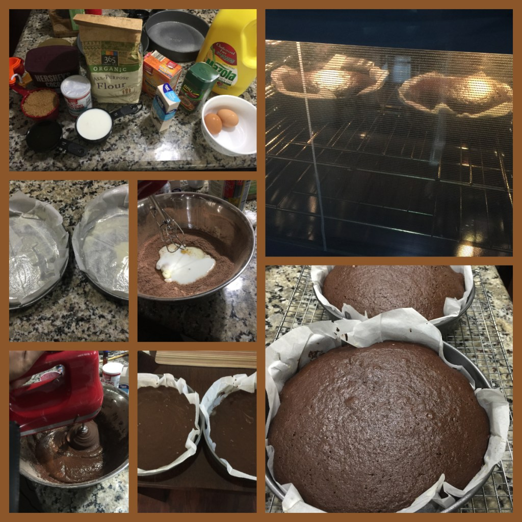 chocolate cake preparation with steps