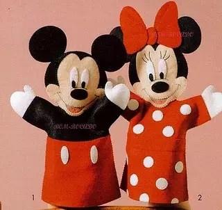 Como fazer Fantoches do Mickey e da Minnie – Molde