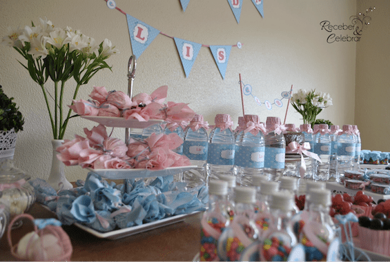Ch de beb azul e rosa da pequena Lis  Inspire sua Festa