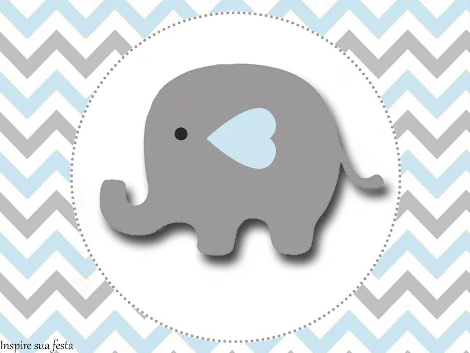 Elefantinho Chevron cinza e azul: Kit festa grátis para imprimir