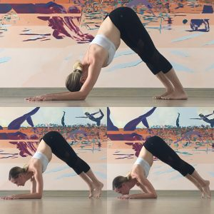 Dolphin Push-Ups - Starting in dolphin pose (downdog on the forearms), take an inhale to look forward and lift the heels and as you exhale tap your chin toward the earth shifting your shoulders beyond the elbows. Repeat 5 times or so then rest in childs pose.