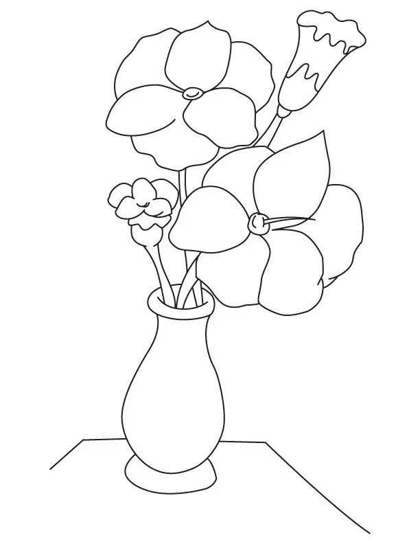 Gambar mewarnai bunga dalam vas