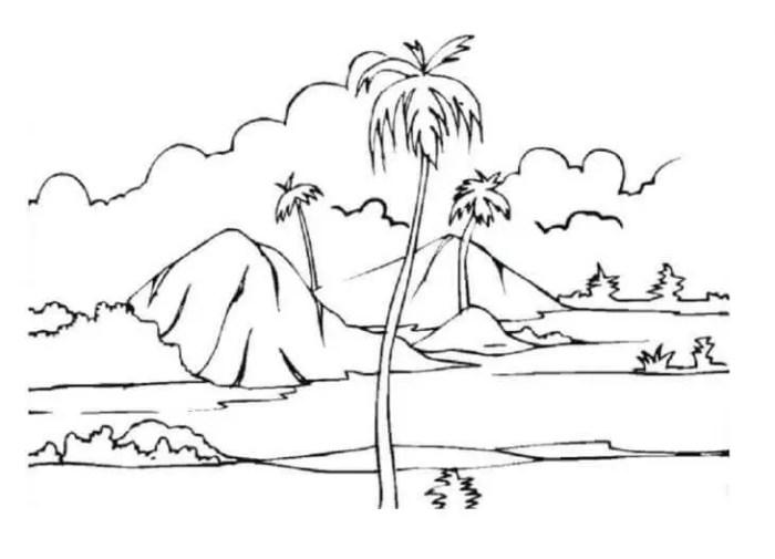 gambar mewarnai pemandangan gunung dan pohon kelapa