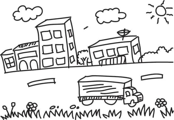 gambar mewarnai pemandangan perkotaan sederhana