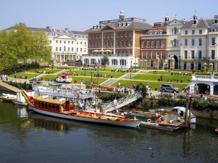 The Royal barge Gloriana on Richmond's riverside