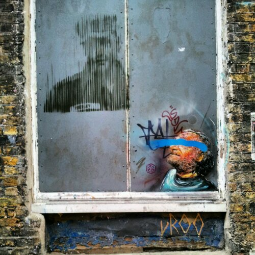 Art by French artist C215 vandalised in London
