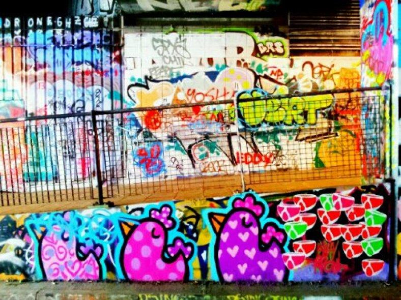 colourful chickens by Binty Bint in Leake Street