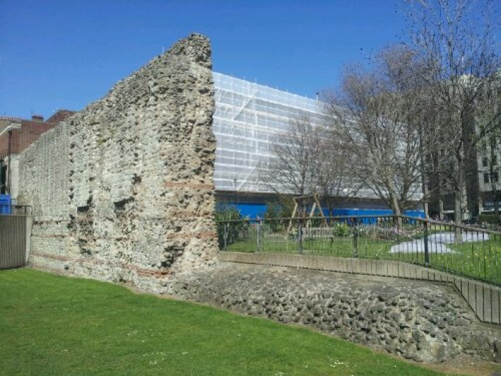 Large section of London's Roman Wall at Tower Hill