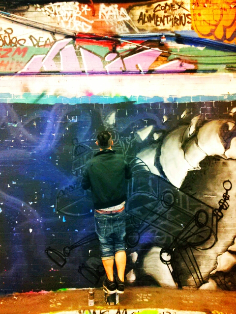 Painting in the Leake Street Tunnel