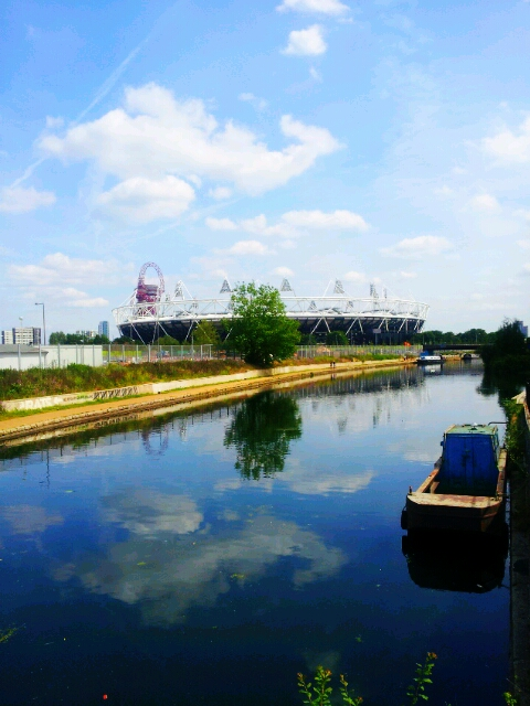 The view from the Crate Brewery to the Olympic Stadium along the Lea Navigation