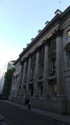 Goldsmiths Hall on Foster Lane has an imposing facade