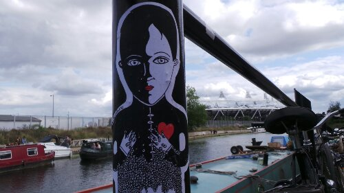 Fred le Chevalier paste up on the towpath of the Lea Navigation leading to the Hertford Union Canal