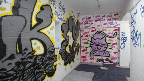 In one of the warehouses on Fish Island this piece from Binty Bint was spotted