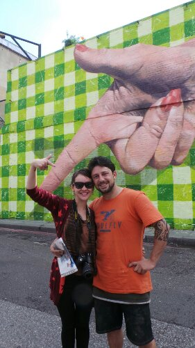 Martin Ron and Erica by the mural over the Bank Holiday weekend