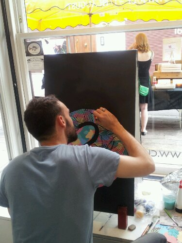 Kef at work, live painting in the Curious Duke Gallery