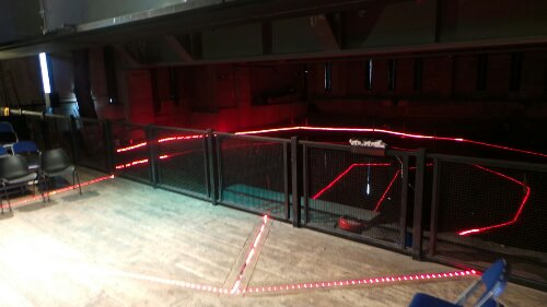 The lights highlight the footprint of the Rose