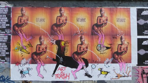 This is genius I love what he's done here to these fly posters on Sclater Street