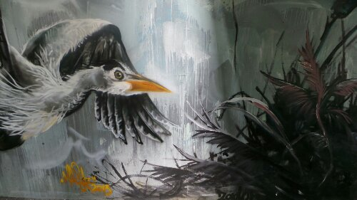 Louis Masai completed a grey heron in flight