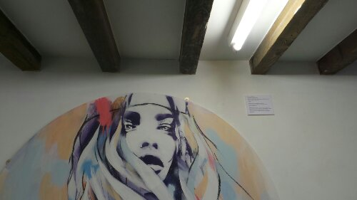 'Summers Gone' by Hannah Adamaszek underneath the beams of the gallery