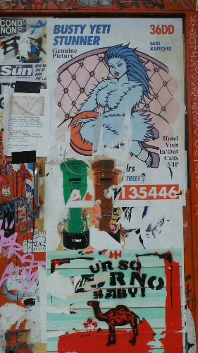 Saki has produced a series of posters but I could only spot this one on Redchurch Street