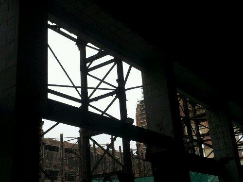 Through the girders