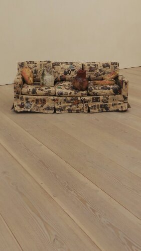 Couch for a Long Time by Jessica Jackson Hutchins made up of cuttings of Barack Obama