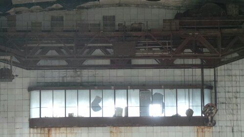 A close up of one of the windows high up at the other side of Station B