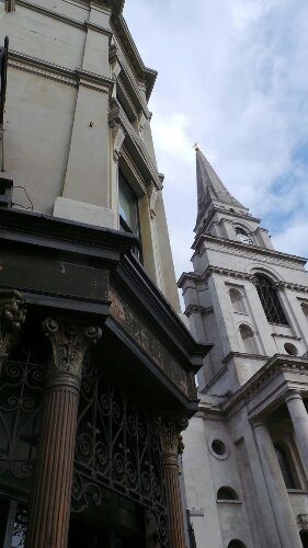 The Ten Bells pub with Christ Church Spitalfields. We walk past this on our walking tour of the East End of London