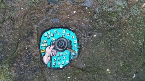 Ben Wilson, the Chewing Gum, created a special piece outside the gallery