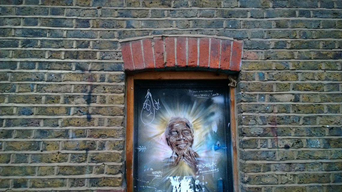 Paul Don Smith drew this wonderful Mandela stencil on Brick Lane