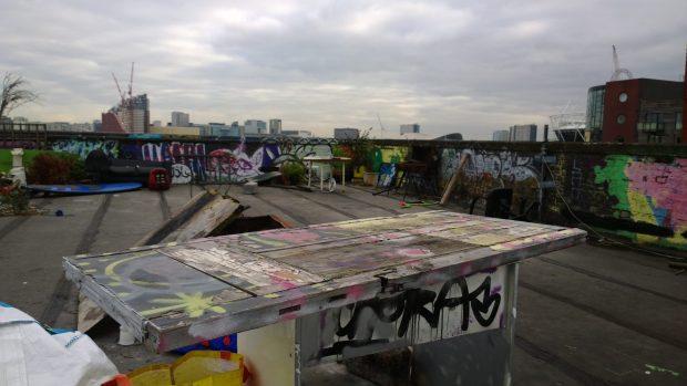 Across the rooftop towards the stadium