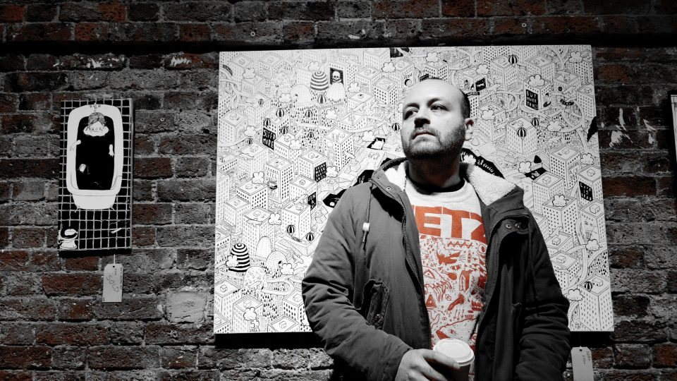 Millo, the Italian artist, at the Hoxton Gallery.  I've taken all the colour out apart from a little bit of red