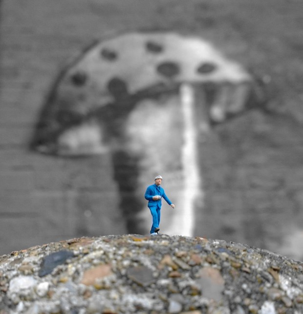 A little slinkachu character walking over a hill with a big mushroom in the background.  The colour has been removed apart from the blue and certain splashes of brown