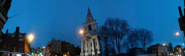 The Christchurch in Spitalfields was the dominant landmark of the time and everyone would have known where this was.  it could be seen towering above from all over the area